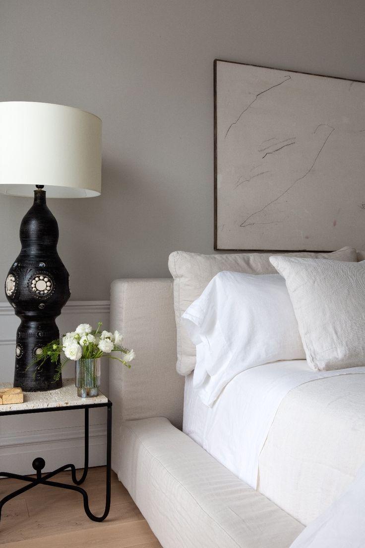 Photo of White Linen Platform Bed Master Bedroom Inspo