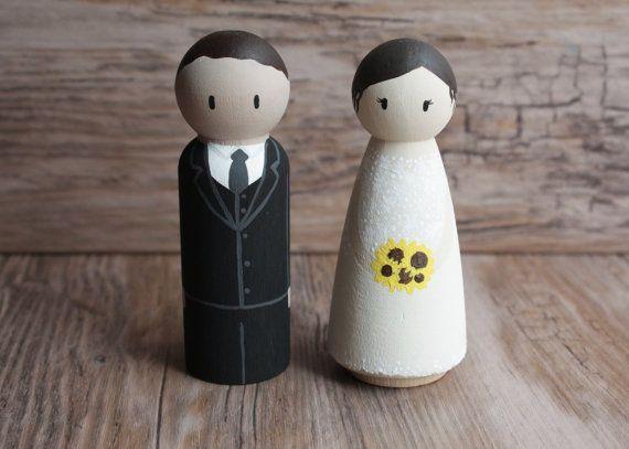 CUSTOM Bride & Groom  Hand Painted Wooden Wedding Cake by eefaa
