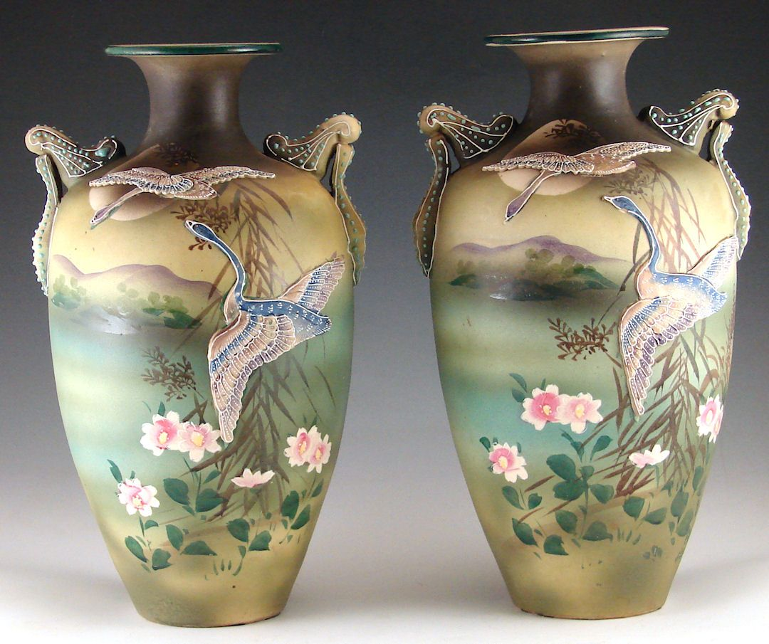 Vintage nippon era hand painted vases with moriage flying geese vintage nippon era hand painted vases with moriage flying geese and beaded handles http reviewsmspy
