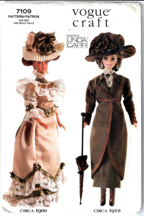 Vogue 7109 Linda Carr Fashion Doll Clothes Pattern Historical ...