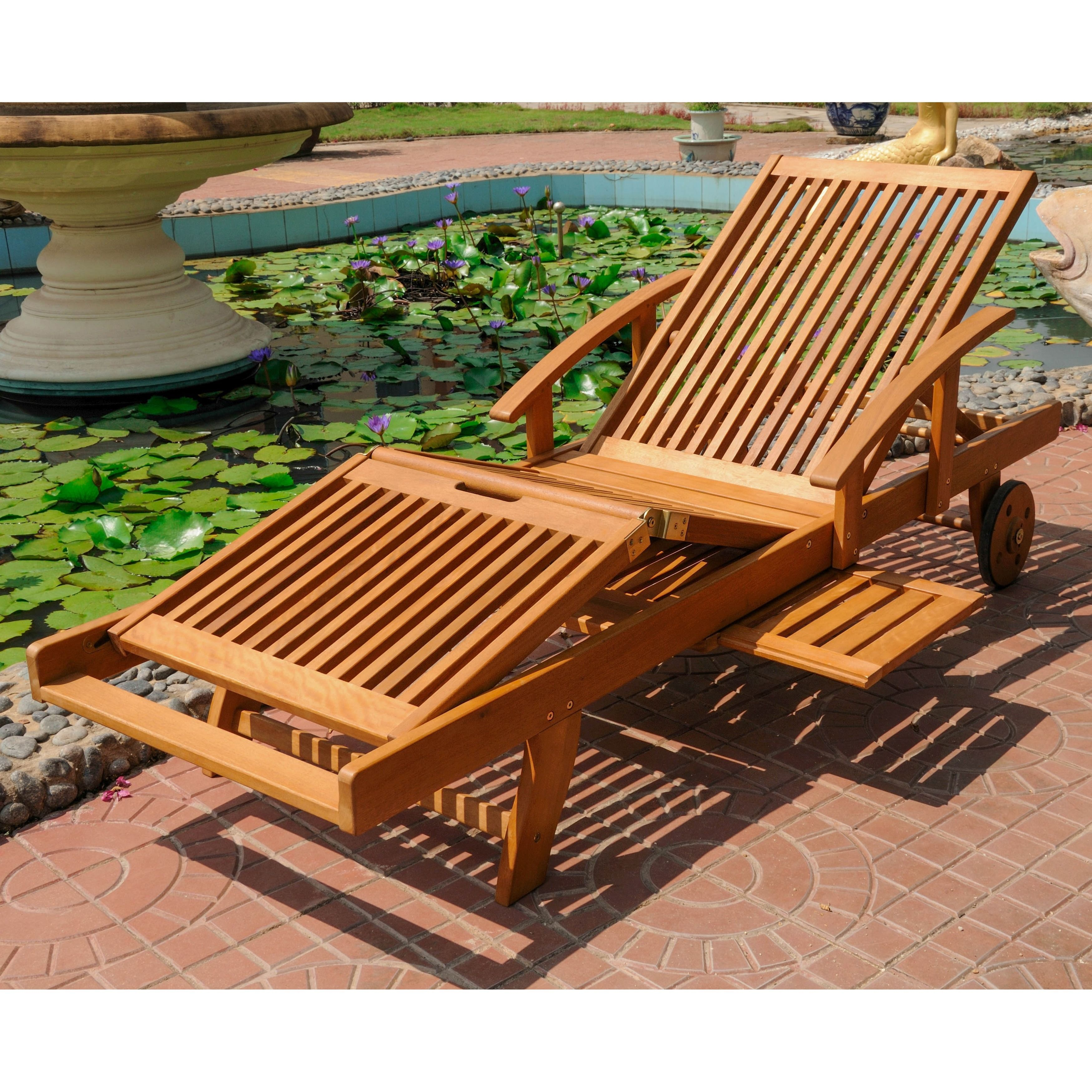 International Caravan Royal Tahiti Yellow Balau Wood Large Chaise Lounge Patio Furniture