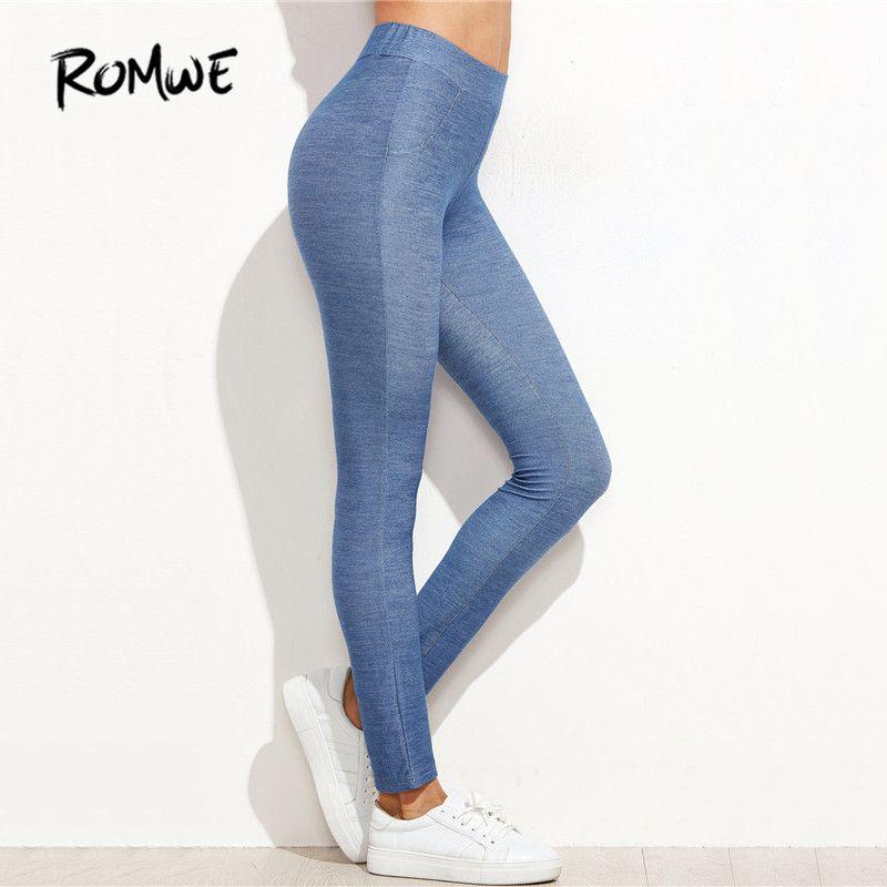 #romwe #leggings #women #winter #warm #womens #fitness #wear #pants #blue #denim #look #skinny