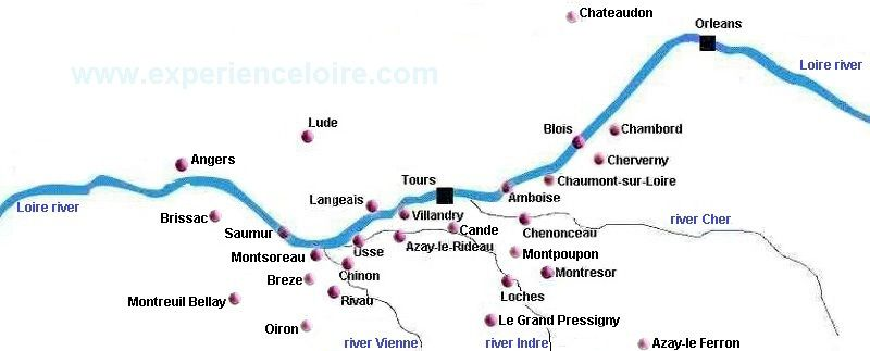 Loire Valley chateaux map showing major chateaux Paris Pinterest
