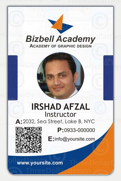 Air blue customize employee card template 100 employee for School id badge template