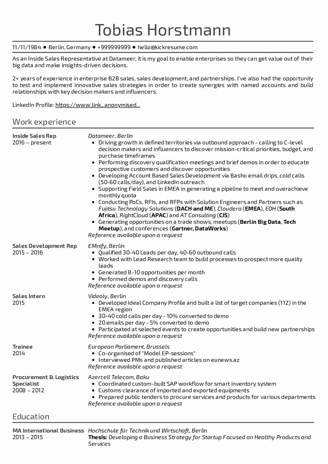 Skills On Resume For Sales