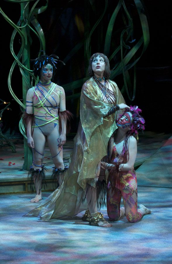 2004, A Midsummer Night's Dream  Adrienne Gould as a Fairy, Dana Green as Titania, and Lara Jean Chorostecki as Mustardseed.  Director: Leon Rubin Designer: John Pennoyer Photographer: David Cooper