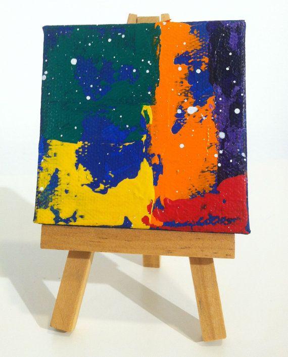 #Rainbow #Pride Abstract Mini original mixed media on canvas by Latinpop, $25.00