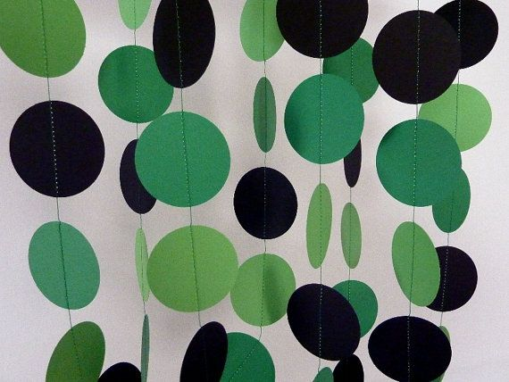 Green Party Decorations Paper Garland And Black 10 Ft On Etsy 00 Make These In Each Kid S Colors For Their Ends Of The Table