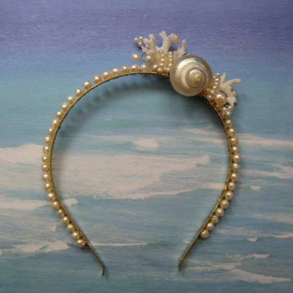 Seashell Coral and Pearl Headband  Pearly Seas by ShellScapes