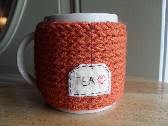 Knitted Mug Cozy Cup Cozy In Burnt Pumpkin Orange With Felt Tea