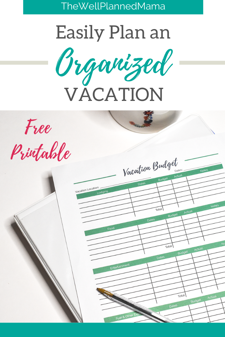 Quickly and easily plan a vacation without stress. Tips for planning an organized, budget-friendly vacation. Free printable.   #vacationprintable #budgetvacation #familyvacationplanning