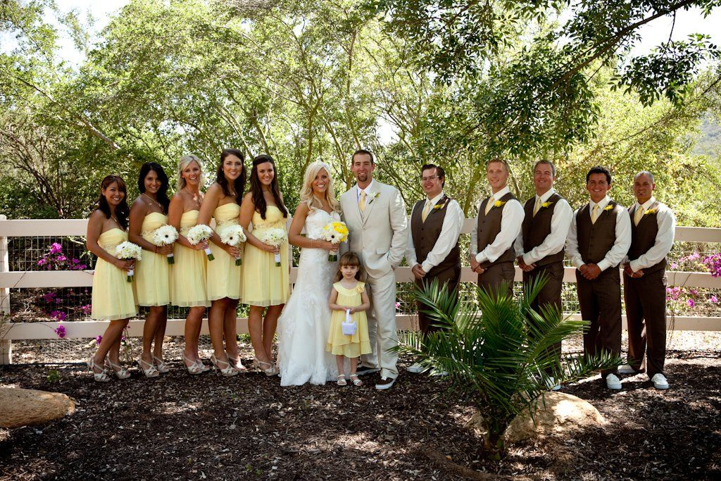 Brown And Yellow Wedding Party Colors Traditional Pose