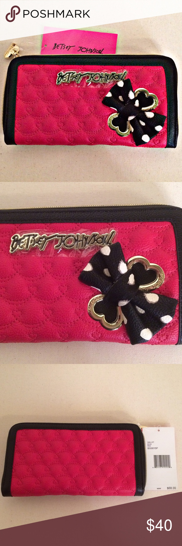"""NWT Betsey Johnson red & black stitch work wallet NWT Betsey Johnson wallet. Black with red stitch work hearts. Super cute black & white polka dot bow on the front with gold heart accents. Betsey's signature writing on the inside. Measurements: 8"""" x 4 1/2"""". Perfect condition, no flaws! Offers warmly welcomed Betsey Johnson Bags Wallets"""