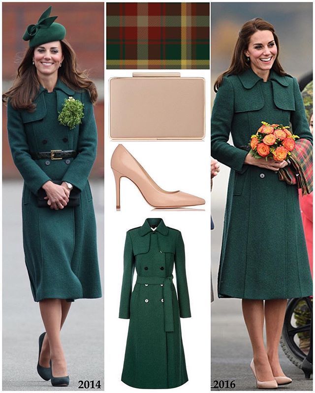 Duchess Kate bought back her £279 Hobbs 'Persephone' trench coat this evening in Whitehorse. She first wore it to the St Patrick's Day parade in 2014. She wore it with the same green belt as last time, not a part of the original coat. Kate also carried the maple leaf tartan scarf, paying homage once again to the host nation. The tartan was designed to mark the new Canadian flag in the 60's that features a maple leaf. The four different colours in the tartan reflect the leaf's seasonal…