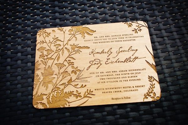 real weddings kim jody wood invitationinvitation - Wooden Wedding Invitations