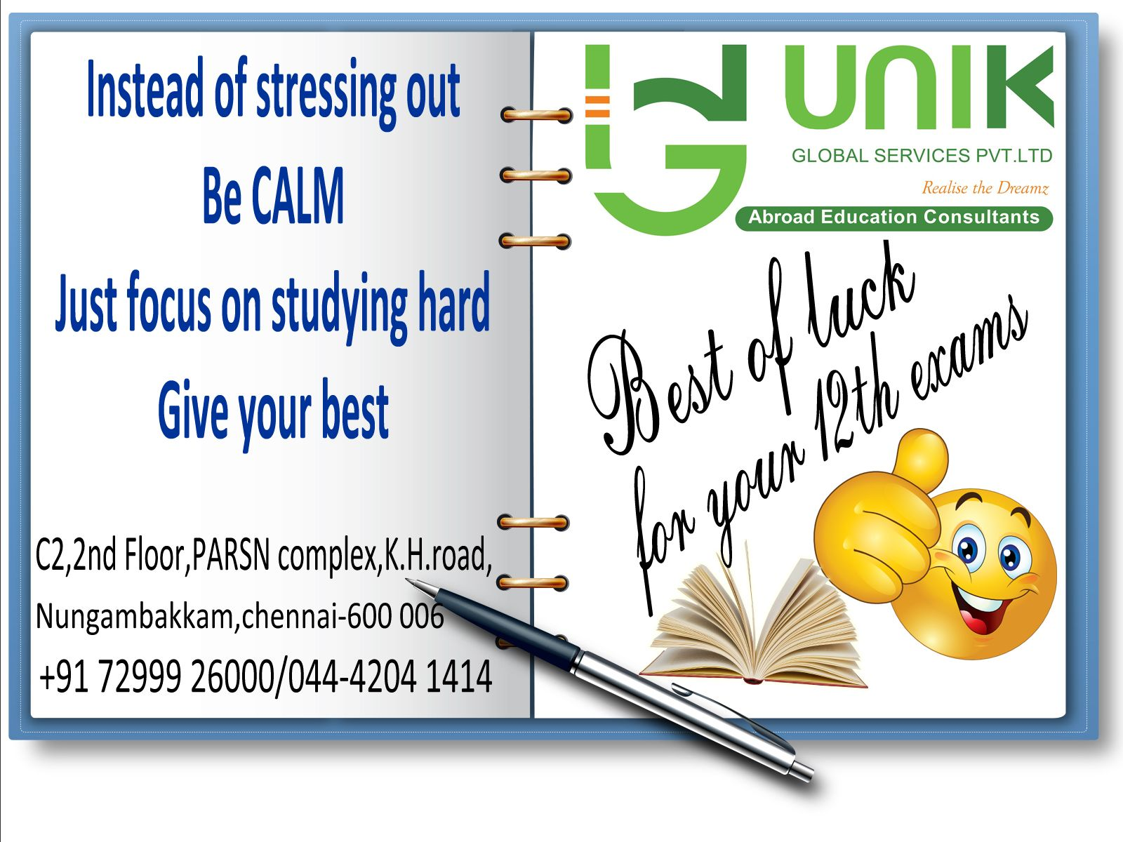 Best Wishes For Your 12th Exam Study hard, Educational