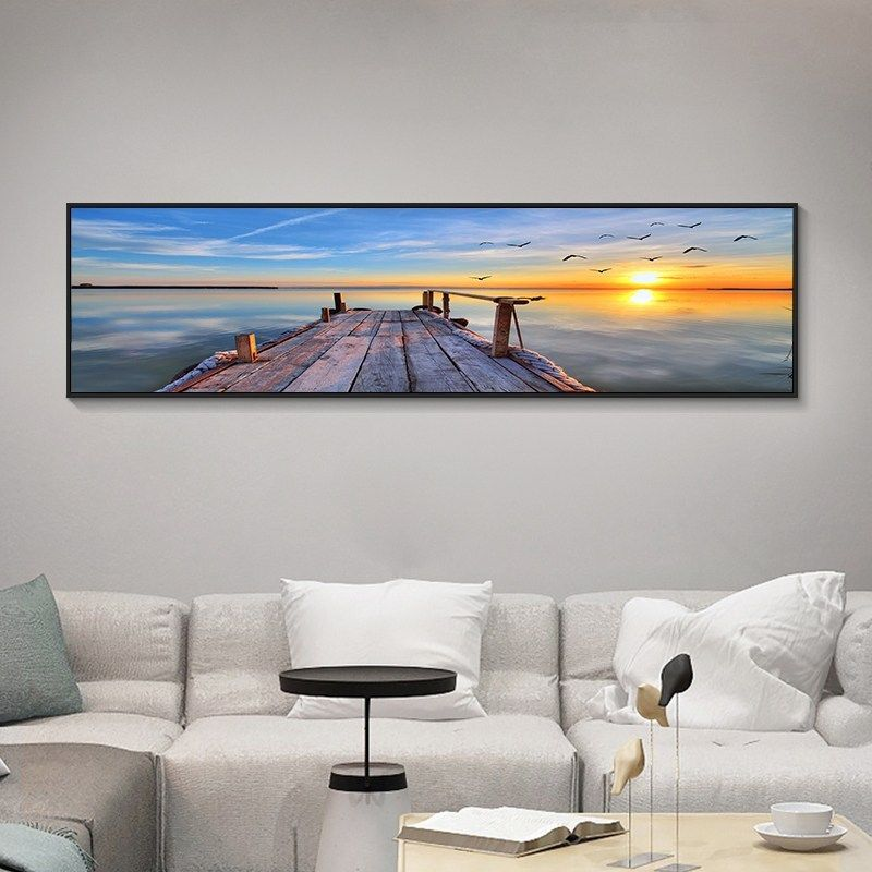 Nature Picture Sea Beach Bridge Sunset Painting Landscape One Direction Poster Wall Print Large Led Canvas Art For Living Room Linh S Corner Wall Prints Living Room Art Sunset Painting