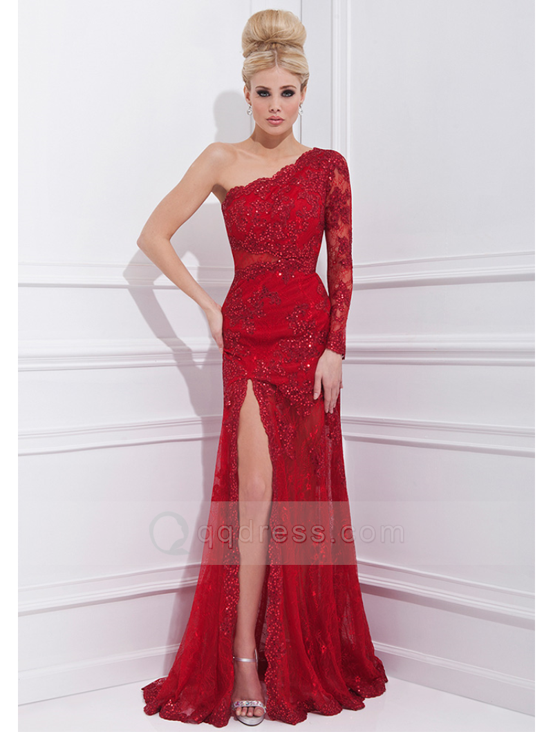 One Shoulder One Sleeve Split Front Sweep Train Lace Dress with ...