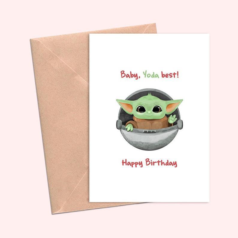 Baby Yoda Birthday Card Star Wars The Mandalorian Baby Yoda Etsy Birthday Cards For Boyfriend Yoda Card Star Wars Birthday