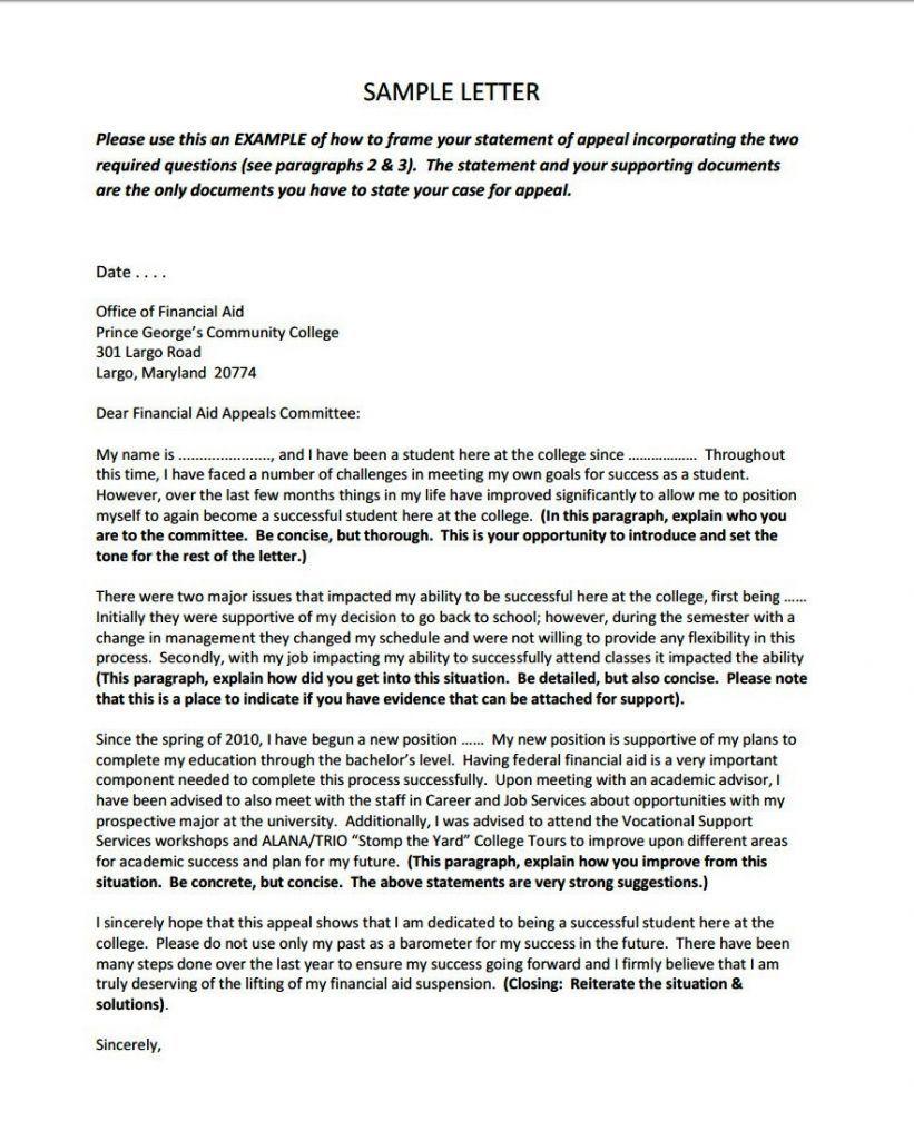 Valid Sap Appeal Letter Sample Download Financial Aid Lettering