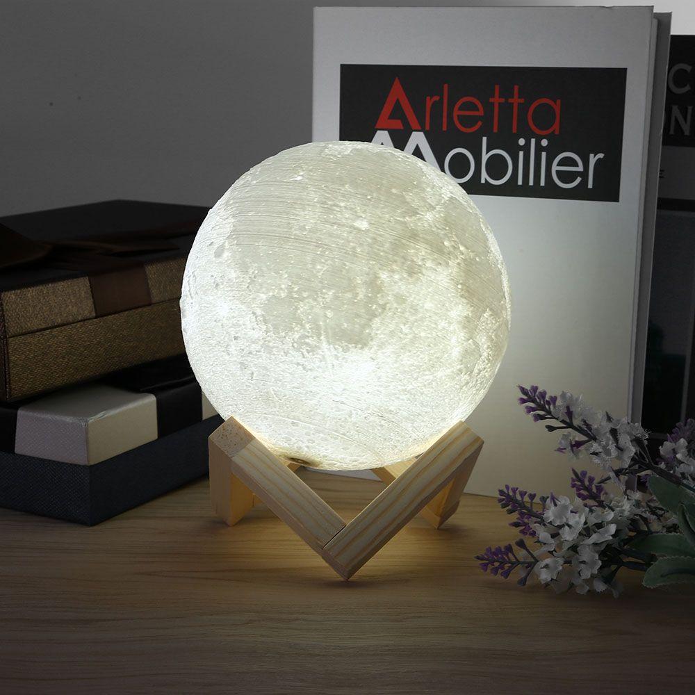 Rechargeable 3d Print Moon Lamp Led 2 Color Change Touch Switch Bedroom Bookcase Night Light Dicas De Decoracao Dicas Decoracao Quarto Luz De Led