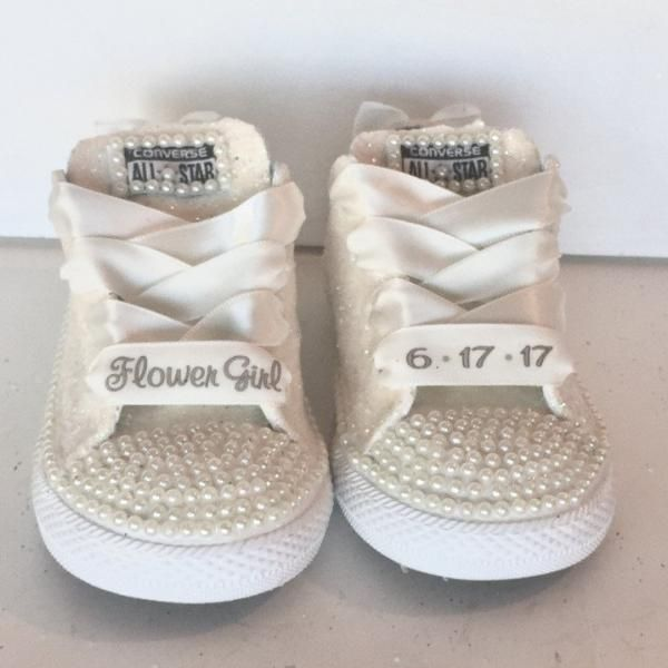 e65fa84de1b Kids Sparkly White Ivory Glitter Converse All Star Pearls Flower GiRL  wedding bridal Shoes
