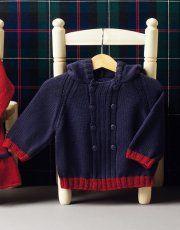 Heft Baby 66 Herbst / Winter | 47: Baby Jacke | Sehr dunkelblau / Weinrot