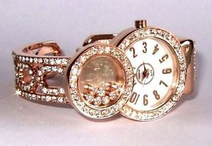 New Floating Rhinestones Rose Gold Bangle Cuff Watch | eBay
