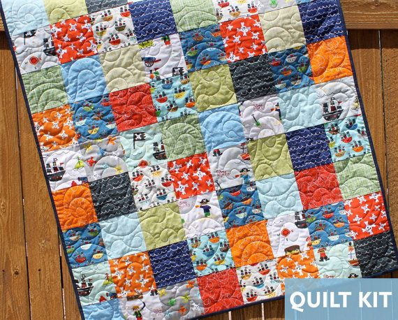 Treasure Map Quilt Kit, Pirate Quilt, Baby Boy Quilt, Layer Cake ... : quilt kits for beginners - Adamdwight.com