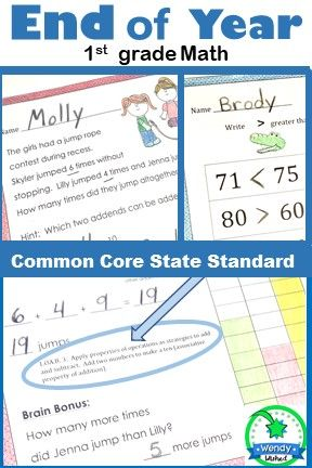 End of Year Math CCSS First Grade Just Print It (Common Core) | Math ...