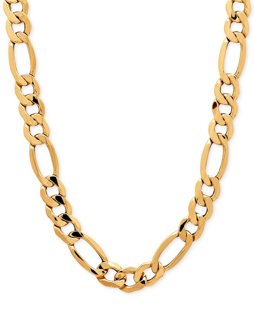 Men S Figaro Chain Necklace In 10k Gold Gold Chains For Men Gold Chain Design Mens Silver Necklace
