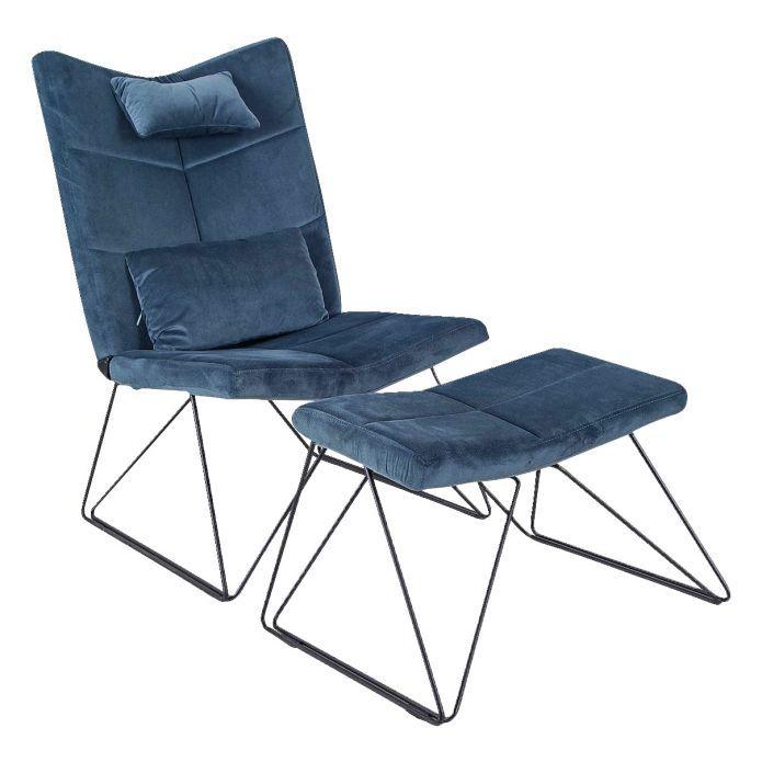 Extravaganter Sessel in dezentem Blauton