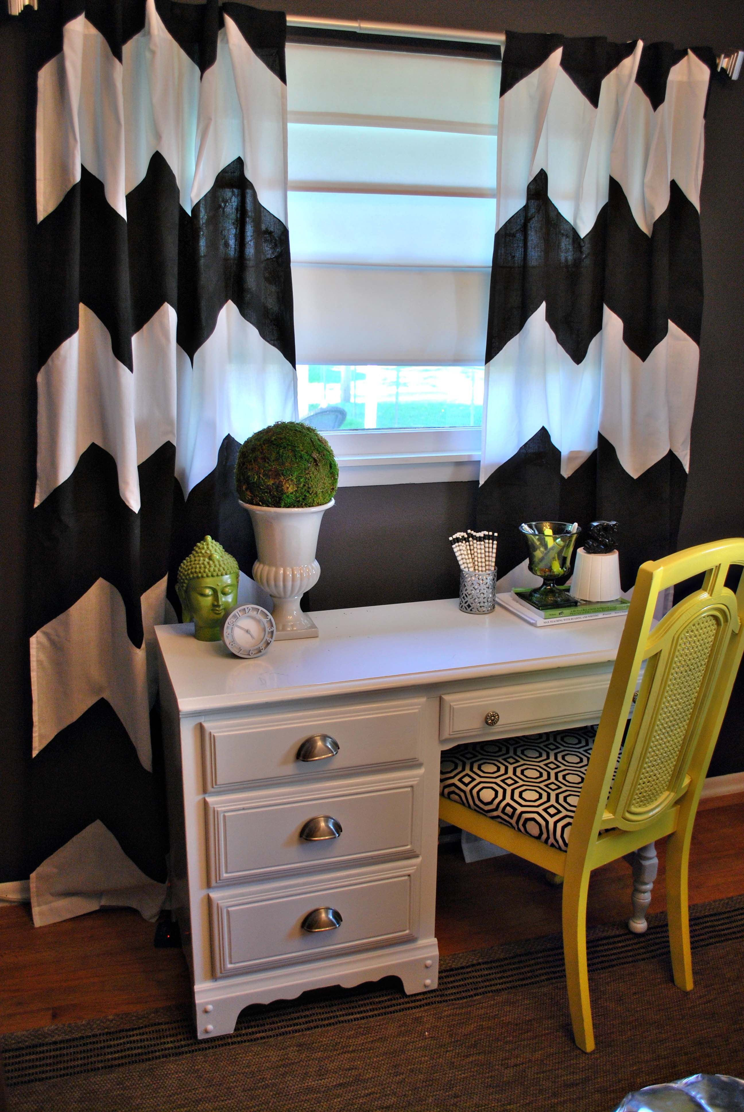 Clean Look With Simple Lines And Pops Of Color... Love! Office Curtains Chevron ...