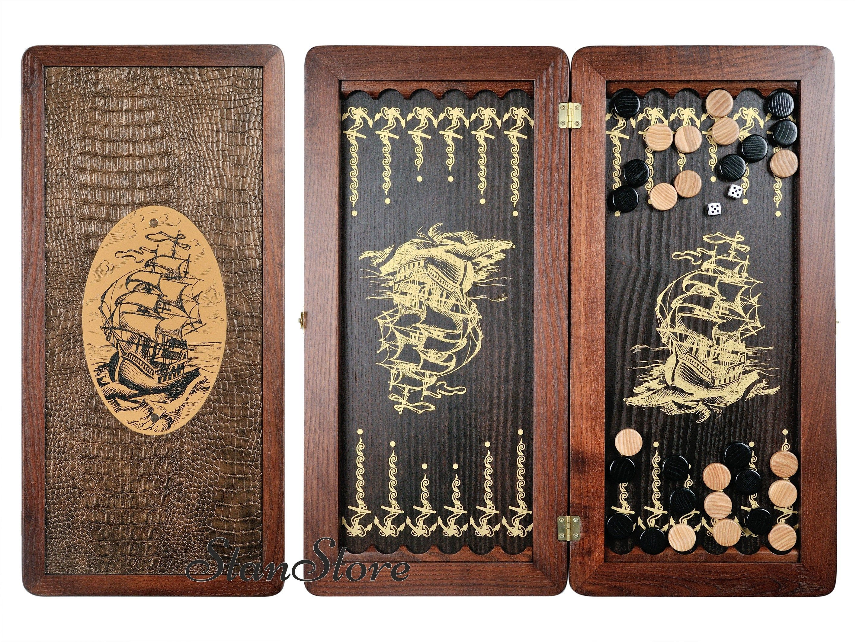 Backgammon Set with Stones Dice SHIP Leather Personalized