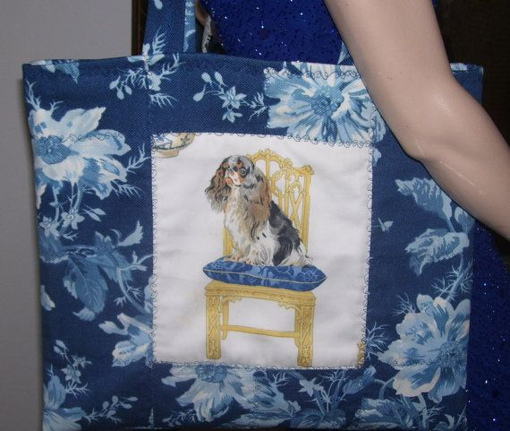 """Cavalier English Toy Spaniel Tri Color Dog Market bag by SKSBoutiqueCo on Etsy.com. This Market large tote bag is made and ready to ship to you. This bag is """"One of a Kind"""" as are most of my bags. Please see the many breeds I offer to make Custom for you."""