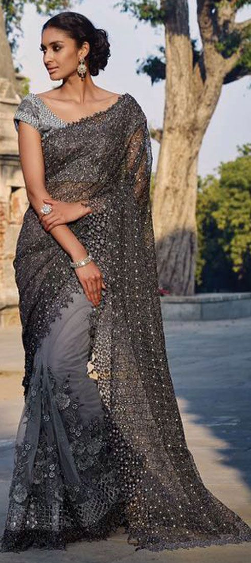 Photo of 197270: Black and Grey  color family Bridal Wedding Sarees   with matching unstitched blouse.
