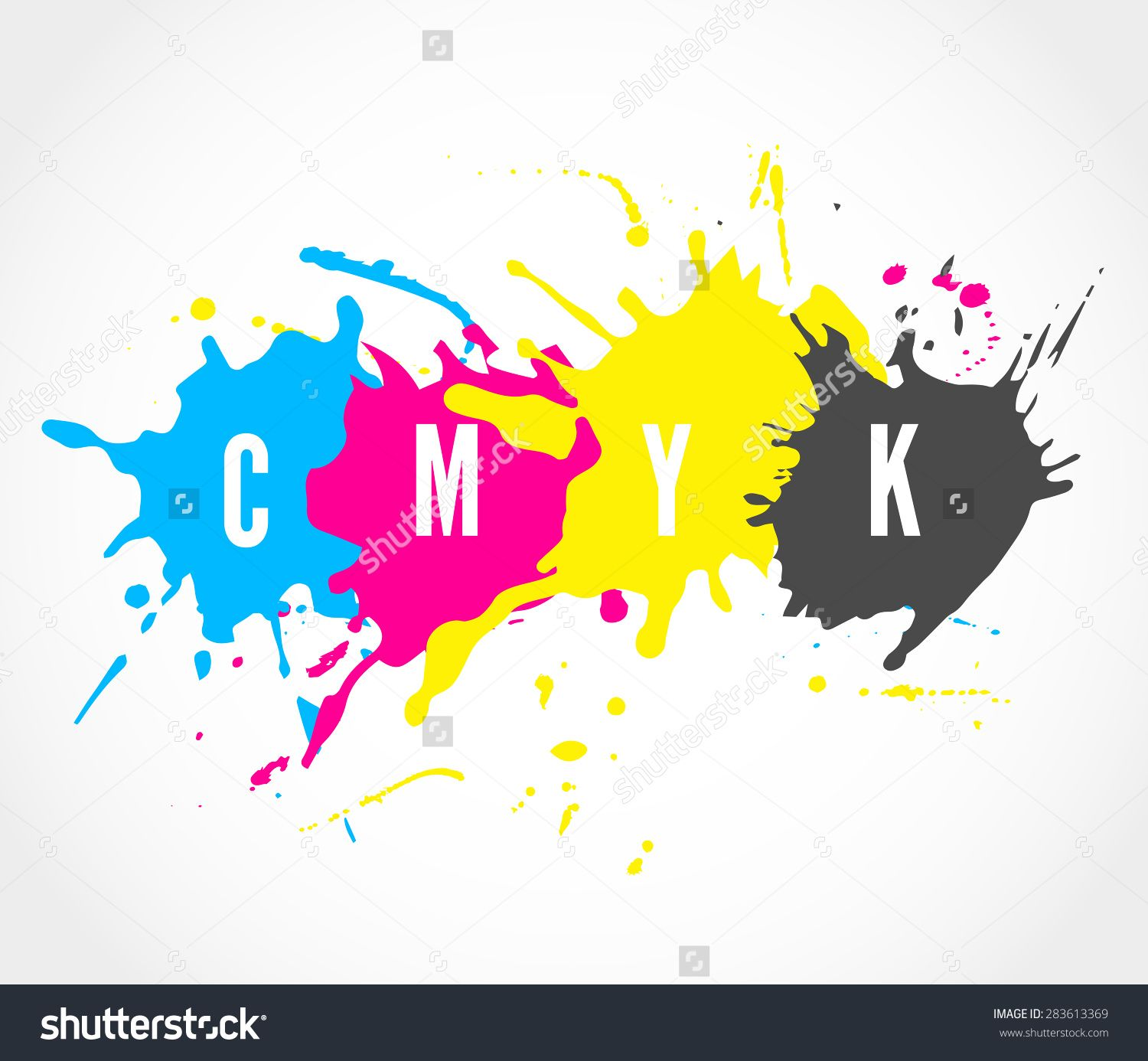 Printing house logo with ink splashes elements in a CMYK ...