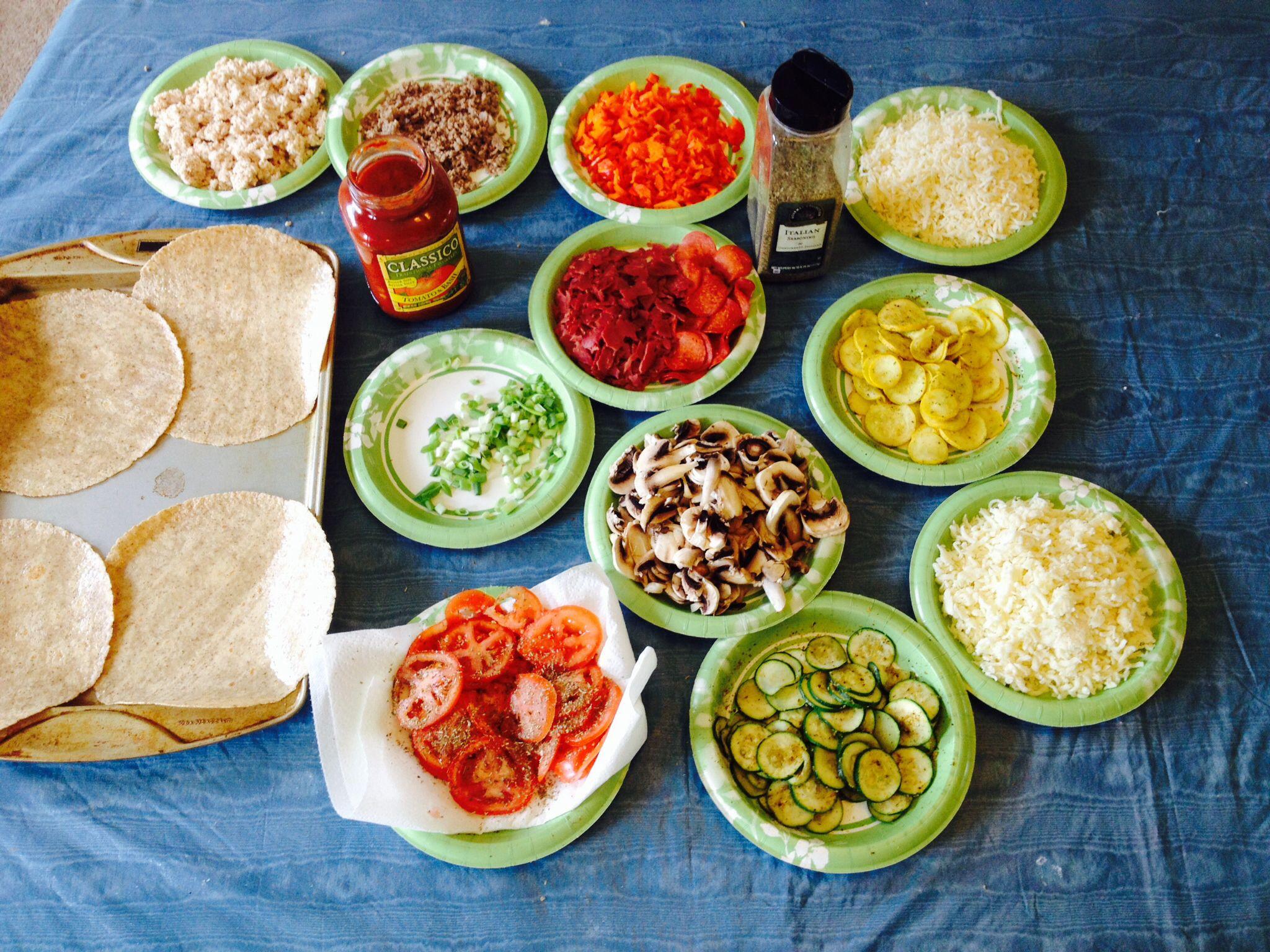 Tortilla Pizza Preparation THM -S- I will stuff the crust like Meadow