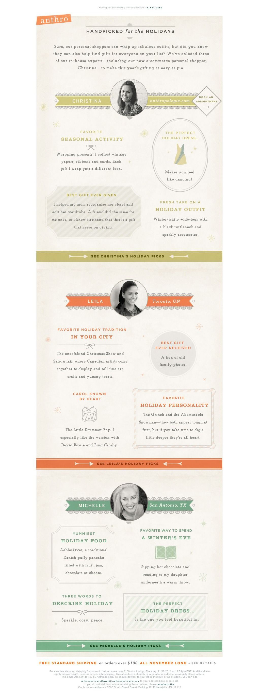Anthropologie Email - curators  | email design