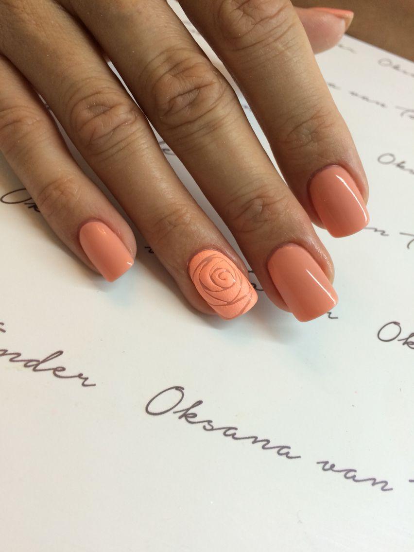 Nägel lachsfarben mit Rose | Beauty & Co. | Pinterest | Nagelschere ...