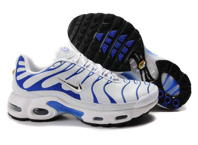 Chaussures de Nike Air Max Tn Requin Homme Blanc et Bleu foncé Tn Requin  Cher 82f595a9161f