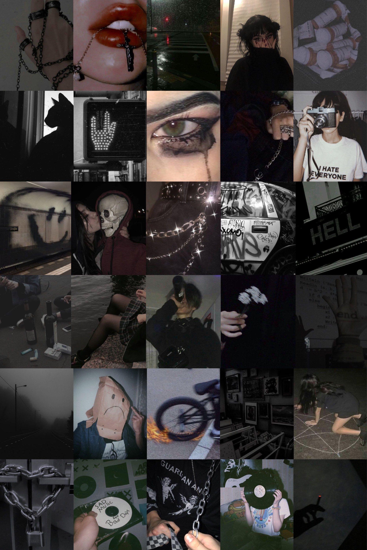 100 Piece Grunge Dark Paradise Black Grey Aestheti