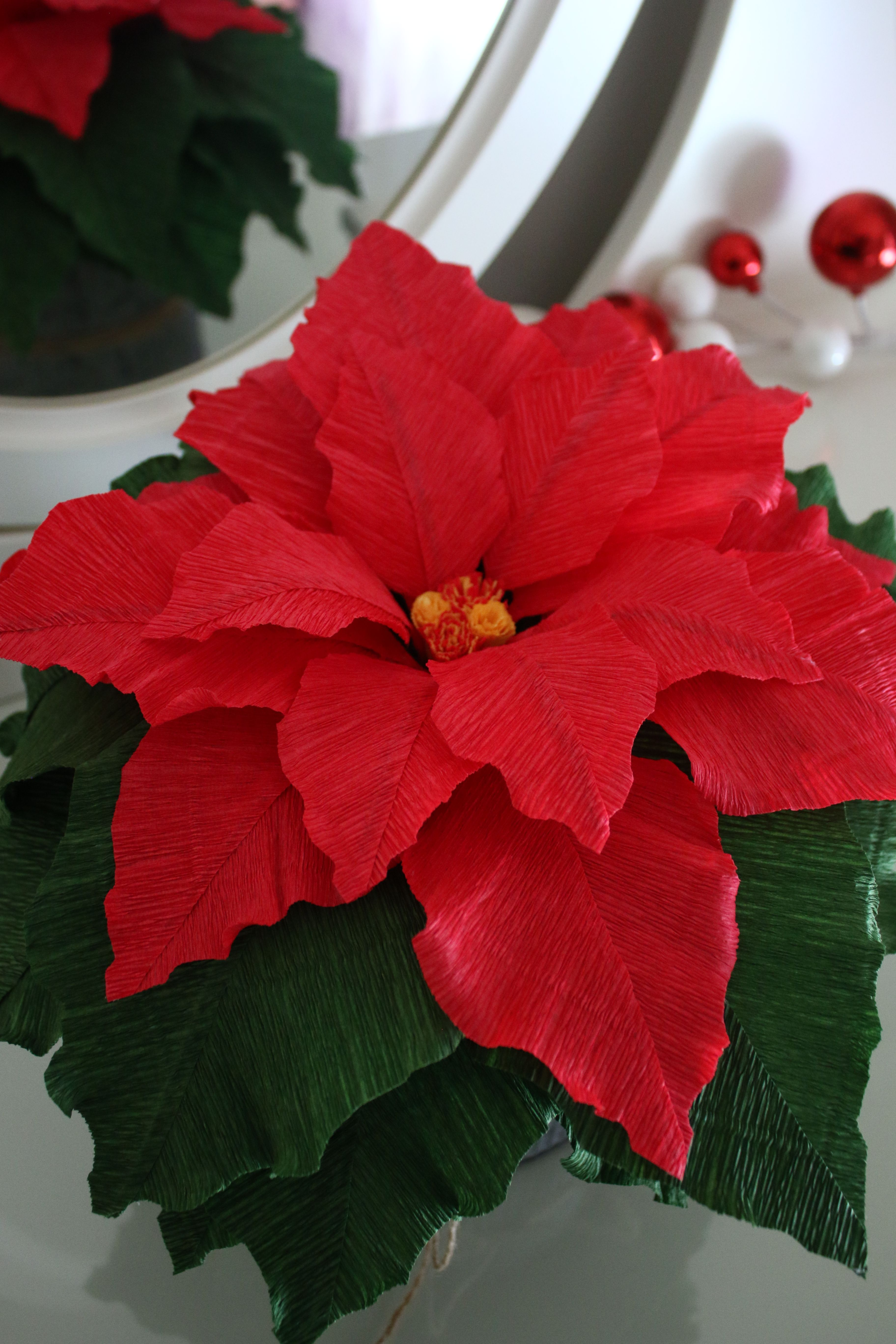 Poinsettia Paper flowers, Crepe paper, Crepe paper flowers