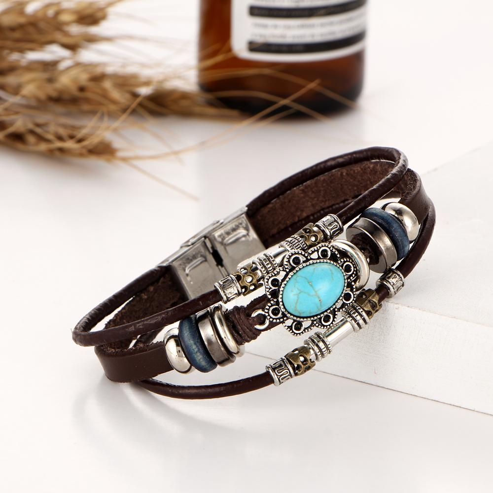 Turquoise and leather trio bracelet turquoise bracelets and products