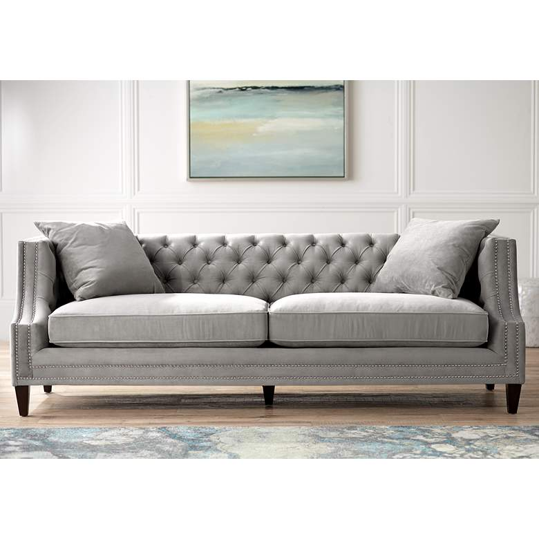 Marilyn 93 Wide Gray Velvet Tufted Upholstered Sofa 14k43 Lamps Plus Grey Sofa Living Room Upholstered Sofa Grey Velvet Sofa