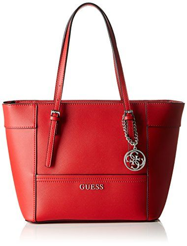 16051f793fa65 Guess Womens Delaney Small Classic Tote Handbag, Red (Cny Red), One Size