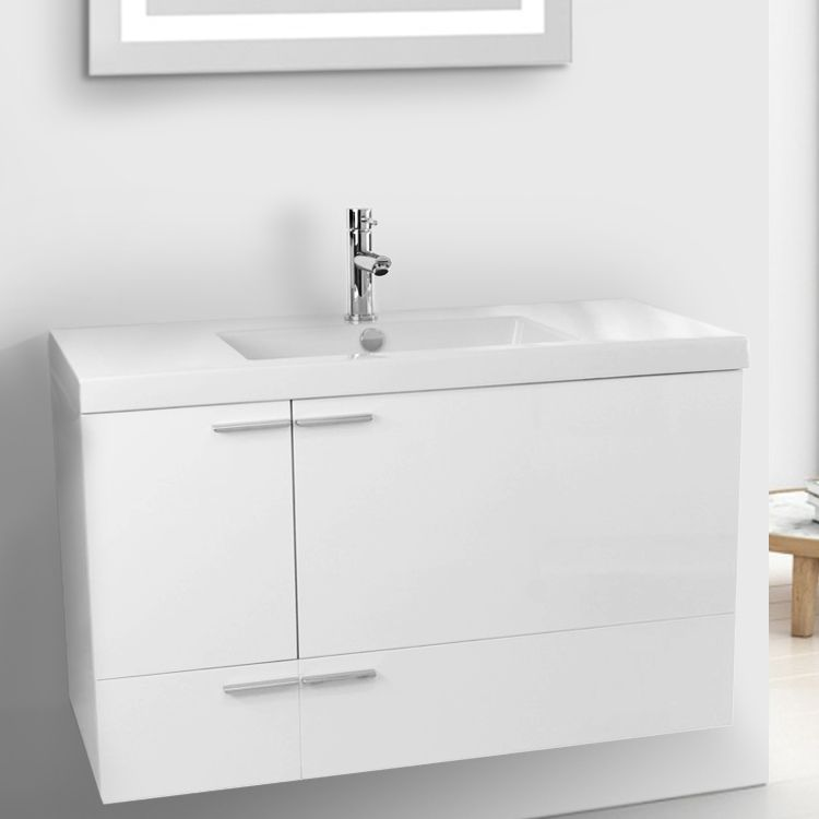 39 Inch Glossy White Bathroom Vanity With Fitted Ceramic Sink