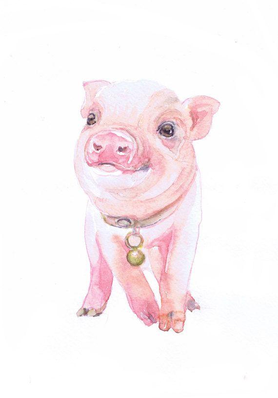 Baby Pig Art Farm Nursery Decor Watercolor Painting Print Boy Girl
