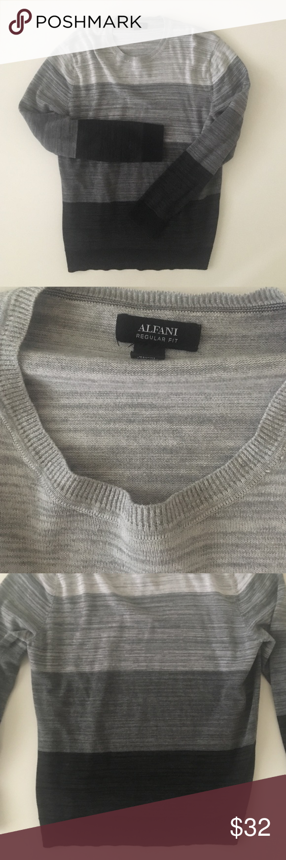 MENS Alfani Regular Fit Sweater Very nice quality sweatshirt. Worn twice. Colors: black, charcoal, grey, and heather grey. Doesn't fit my husband anymore. Alfani Sweaters Crewneck