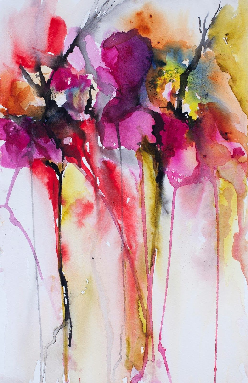 Karin Johannesson Contemporary Watercolour Flowers Abstract